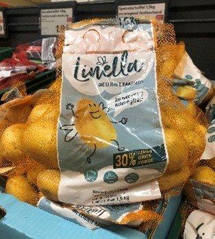 Low carb Linella burgonya termék az üzletlánc polcán Németországban.